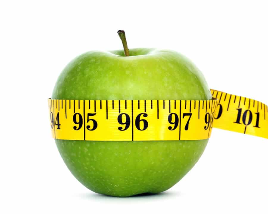 Healthy Weight Loss, tape measure around a green apple